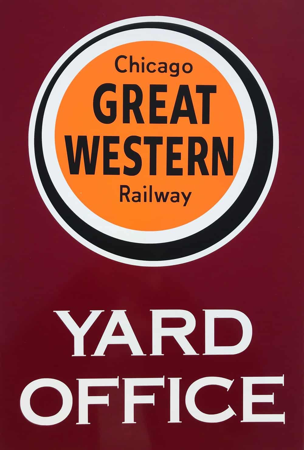 Chicago Great Western Railway Yard Office Sign Cardinal Sign